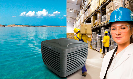 Air conditioning of industrial buildings with evaporative air conditioners
